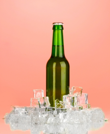 Beer bottle in ice on red background photo