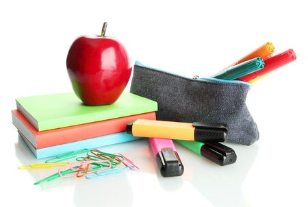 pencil box with school equipment and apple isolated on white photo