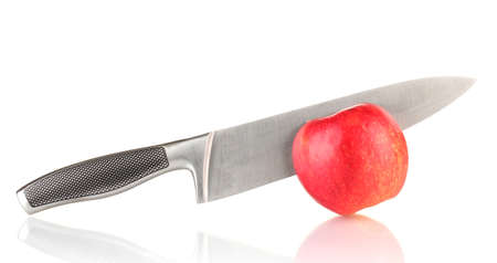 Red apple and knife isolated on white Stock Photo