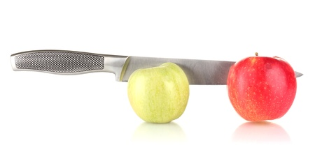 Red and green apples with knife isolated on white Stock Photo