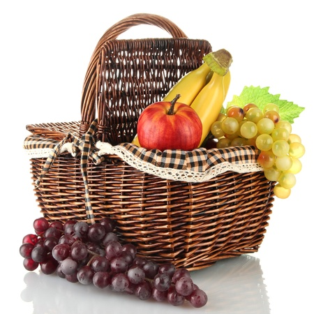 Picnic basket with fruits isolated on white Stock Photo - 17321451