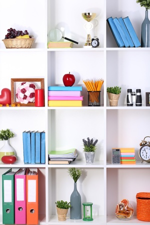 Beautiful white shelves with different home related objects Stock Photo - 17332586