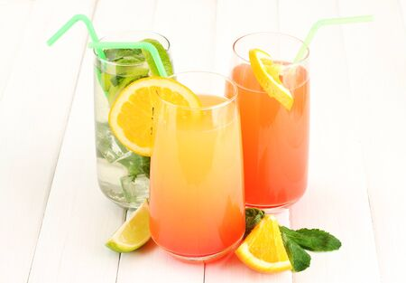Three cocktails on white background Stock Photo - 17350664