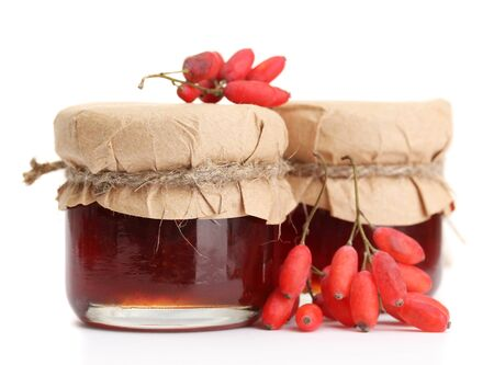 ripe barberries and jars of jam isolated white Stock Photo - 17350408