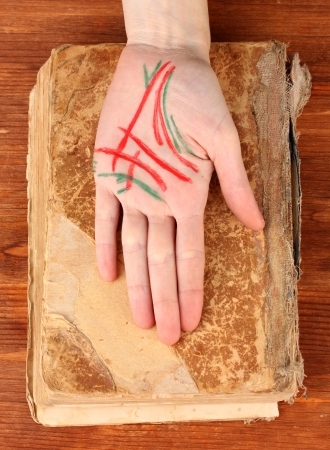 palmistry: Chiromancy.Color contours on palm, on wooden background