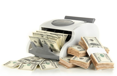 onehundred: Machine for counting money and 100 dollar bills isolated on white Stock Photo