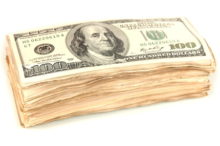 Stack of one hundred dollars banknotes close-up isolated on white Stock Photo - 17351182