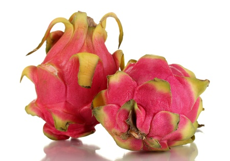 Two ripe pitahayas isolated on white photo