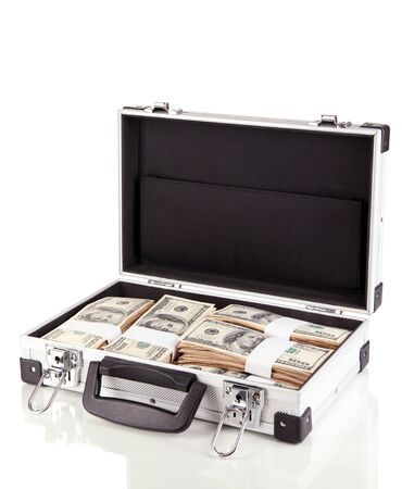 Suitcase with 100 dollar bills isolated on white Stock Photo - 17400255