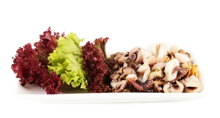 Healthy Seafood Salad with shrimps,octopus and mussels,squids isolated on white Stock Photo - 17401299