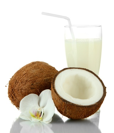 Coconuts with glass of milk, isolated on white photo