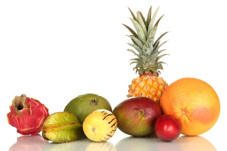 Composition of exotic fruits isolated on white Stock Photo - 17403552