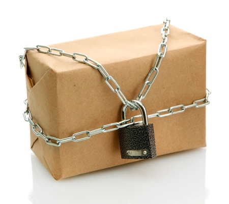 parcel with chain and padlock, isolated on white Stock Photo - 17401353