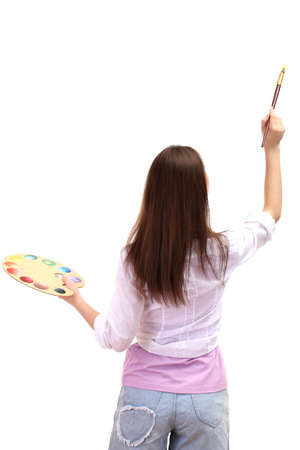 beautiful young woman painter with brushes and  palette, isolated on white Stock Photo - 17403551