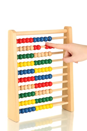 Accountant counting on an abacus, isolated on white Stock Photo - 17401408
