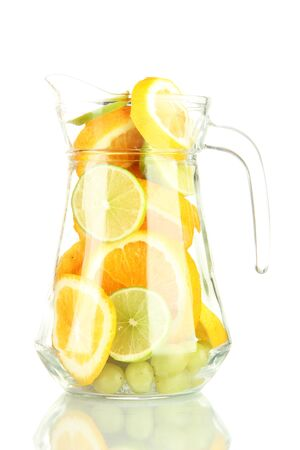 transparent jar with citrus fruits, isolated on white photo