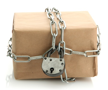 parcel with chain and padlock, isolated on white Stock Photo - 17403580