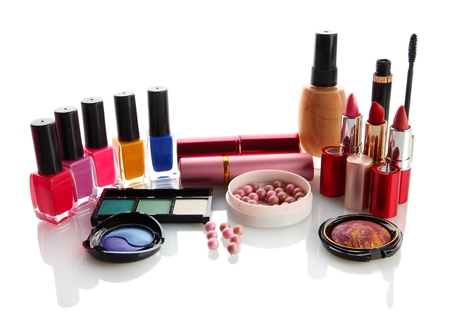 cosmetics collection: cosmetics isolated on white