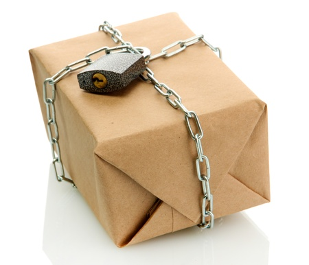 parcel with chain and padlock, isolated on white Stock Photo - 17459281