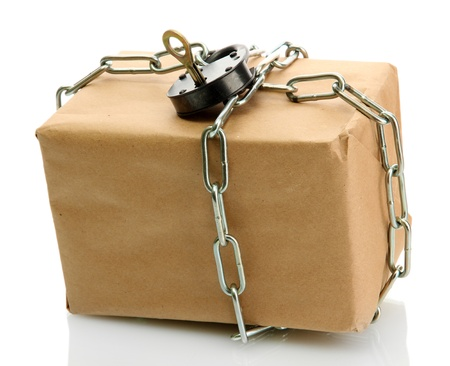 parcel with chain and padlock, isolated on white Stock Photo - 17459369