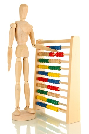 Bright toy abacus and wooden dummy, isolated on white Stock Photo - 17463337