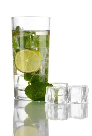 Glass of water with ice, mint and lime isolated on white Stock Photo - 17463323