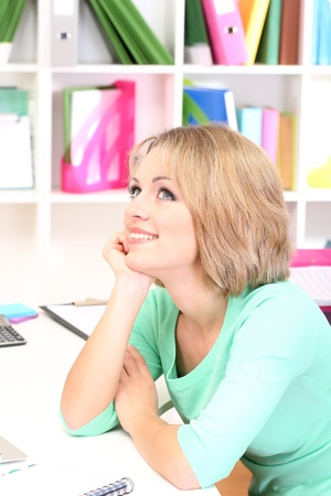 Young beautiful business woman in office at her workplace Stock Photo - 21537619