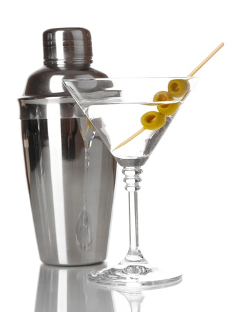 Martini glass with olives and shaker isolated on white Stock Photo - 17485392