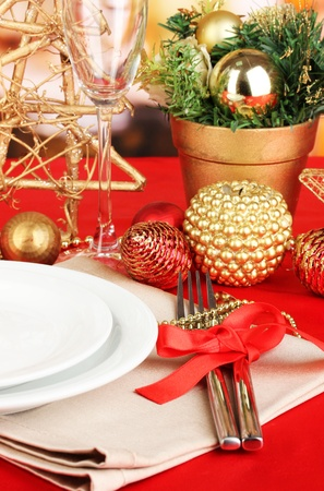 Serving Christmas table close-up Stock Photo - 17486121