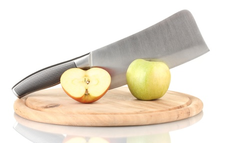 Green apple and knife on cutting board, isolated on white Stock Photo - 17485637