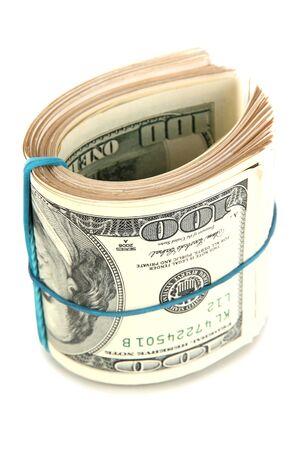 onehundred: Twisted bundle 100 dollar bills isolated on white