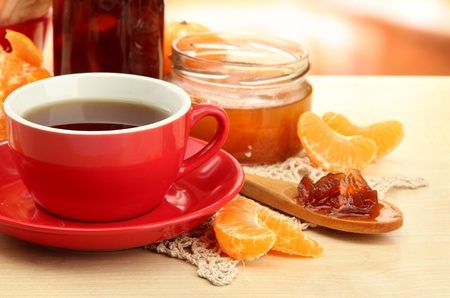 light breakfast with tea and homemade jam, on wooden table Stock Photo - 17485823