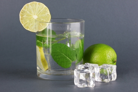 Glass of water with ice, mint and lime on grey background Stock Photo - 17486013