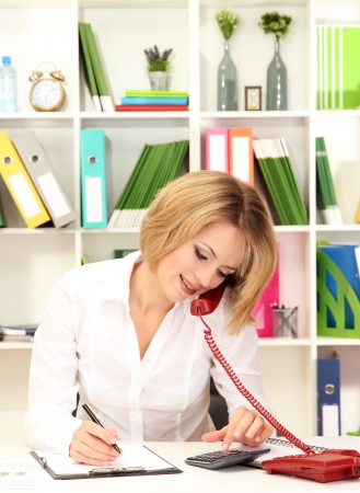 Beautiful young business woman working in office Stock Photo - 17485724