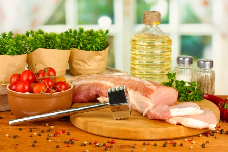 composition of raw meat, vegetables and spices on wooden table close-up Stock Photo - 17518640