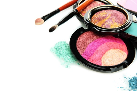 bright eye shadows and rouge with brushes, isolated on white Stock Photo - 17515233