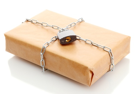 parcel with chain and padlock, isolated on white Stock Photo - 17515027