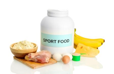 pot proteïne poeder en voedsel met eiwitten, geïsoleerd op wit