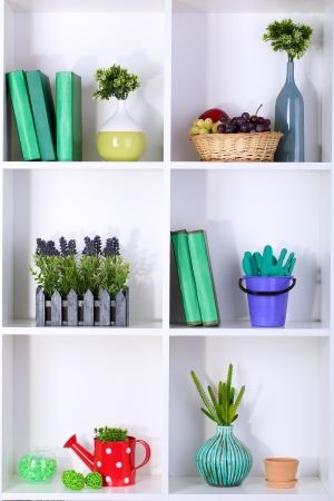 Beautiful white shelves with different gardening related objects photo
