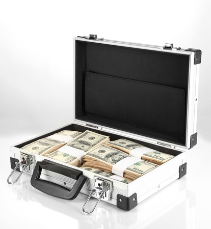 onehundred: Suitcase with 100 dollar bills isolated on white