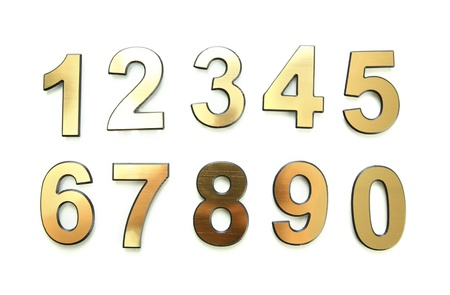 Golden numbers, isolated on white Stock Photo - 17514924