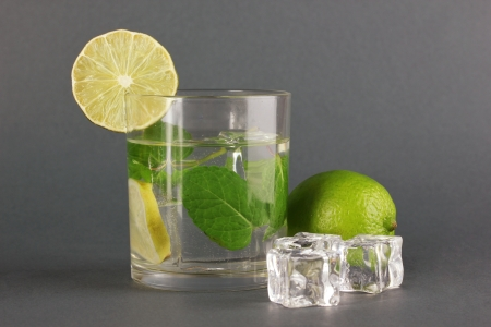 Glass of water with ice, mint and lime on grey background Stock Photo - 17518618