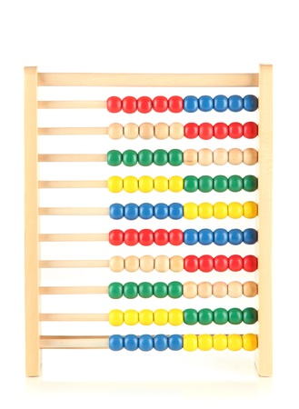 Bright wooden toy abacus, isolated on white photo