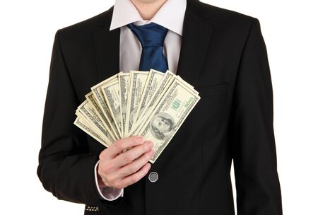 Business man holds lot of money isolated on white Stock Photo - 17525891