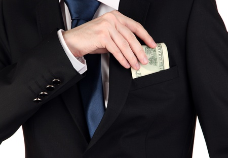 Business man hiding money in pocket isolated on white Stock Photo - 17525972