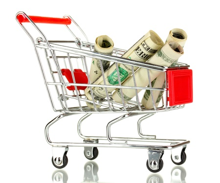Money in cart isolated on white Stock Photo - 17526229