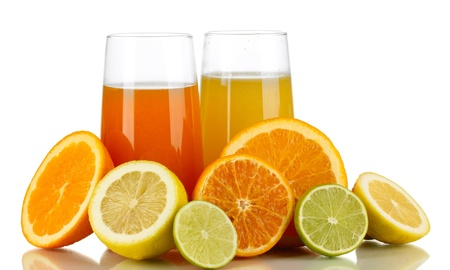 Lots ripe citrus with juices isolated on white Stock Photo - 17526236