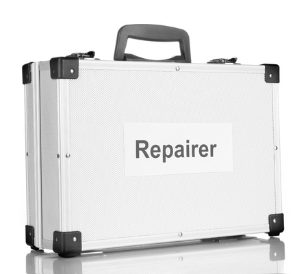 Silvery diplomat (suitcase) isolated on white Stock Photo - 17548200