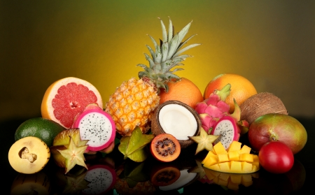exotics: Composition of exotic fruits on colorful background