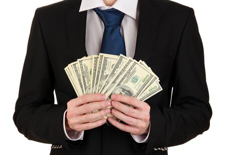 Business man holds lot of money isolated on white Stock Photo - 17548294